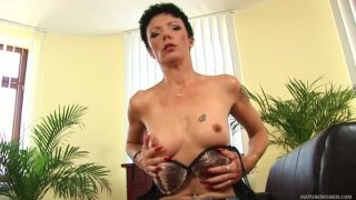 Very ugly brunette MILF Jane Black shows her tight hungry pussy image