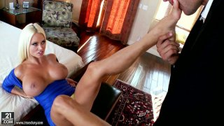 Image: Majestic blonde sex pot Nikita Von James gets horny when the guy licks her feet
