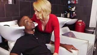 Super fine MILF gets both her holes fucked at once by big black dicks image