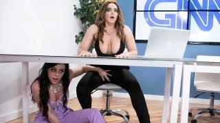 Two gorgeous sluts Natasha Nice and Whitney Wright lick each other good image