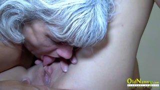 OldNannY Horny Granny Licking Hot Teen Lesbian image