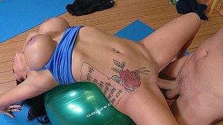Big titted Sienna having Yoga Lessons image