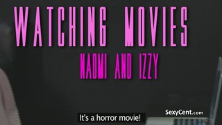 Lesbian fucking after horror movie image