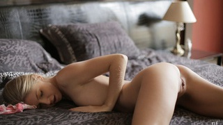 Lovely Ebbi is so hot from sexting that she needs to give her small tits a long massage and then... image