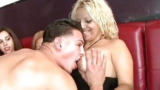Image: Naughty women are sucking stippers cocks hungrily