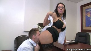 Slutty black haired secretary J Love gets poked doggy in the study image