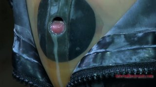 Tight black rubber mask makes Kristine Andrews suffocate and cry image