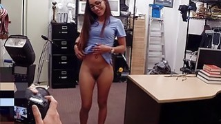 Desperate girl sucks off and gets fucked in the backroom image