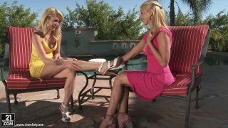 Sandy and Monique Alexander eat cake and suck nipples image