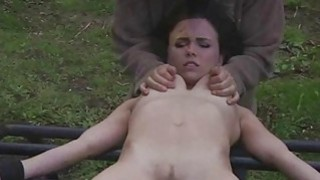 Extreme throat fuck with her hands tied up image