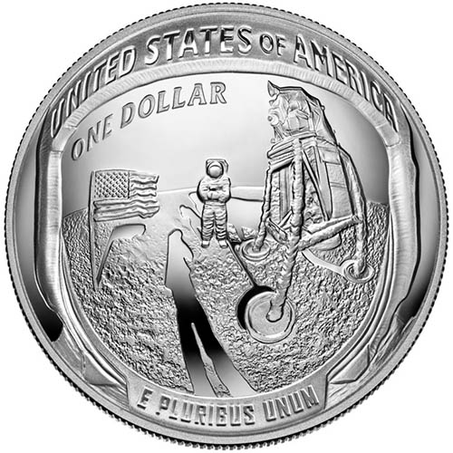 2019 1 oz Silver American Apollo 11 50th Anniversary Coins ...
