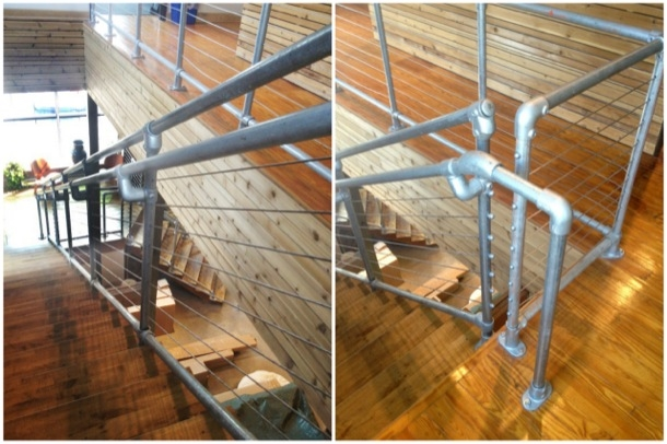 Cable Railing System On Kee Klamp Pipe Railing Simplified Building   Galvanized Pipe Stair Railing   Garden   Plumbing Pipe   Water Pipe   Box Pipe   Deck