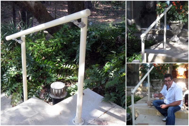 Installing Your Own Diy Easy Install Simple Handrail Simplified | Wooden Handrail For Garden Steps | French Door Garden | Garden Stair | Landscape | Outside Step | Outdoor Near Me Step