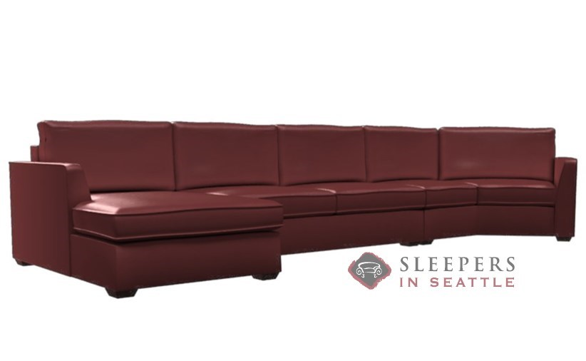 lazar industries strata leather long angled chaise sectional with 2 cushion condo earth designs queen sleeper sofa