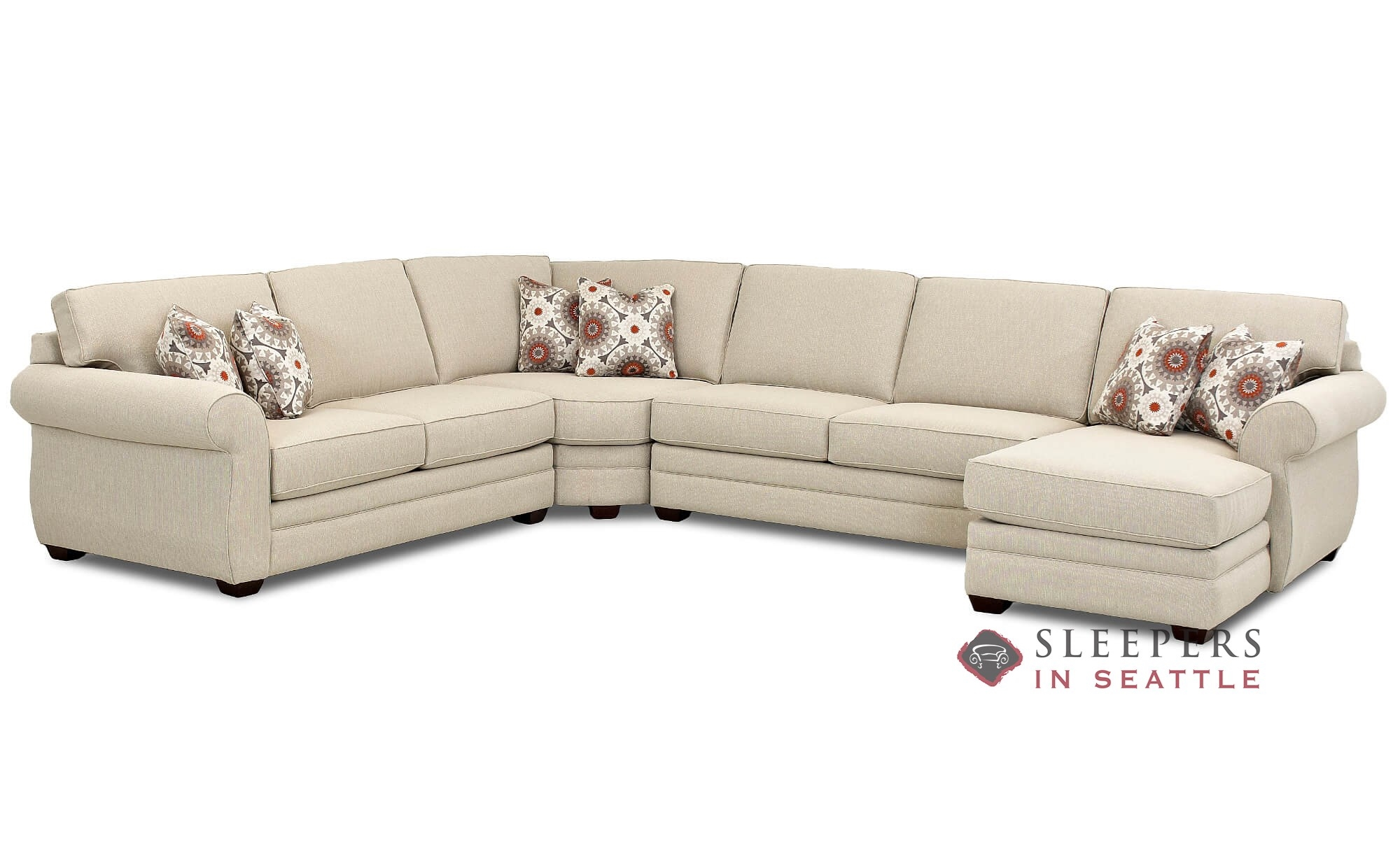 Savvy Canton True Sectional Full Sleeper Sofa With Chaise Lounge