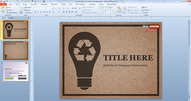 Free Recycle PowerPoint Template Black Free PowerPoint Templates