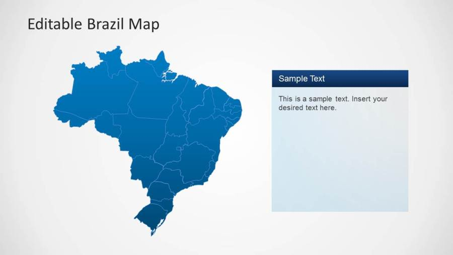 Editable Brazil Map Template for PowerPoint   SlideModel     Editable PowerPoint Map of Brazil Political Outline