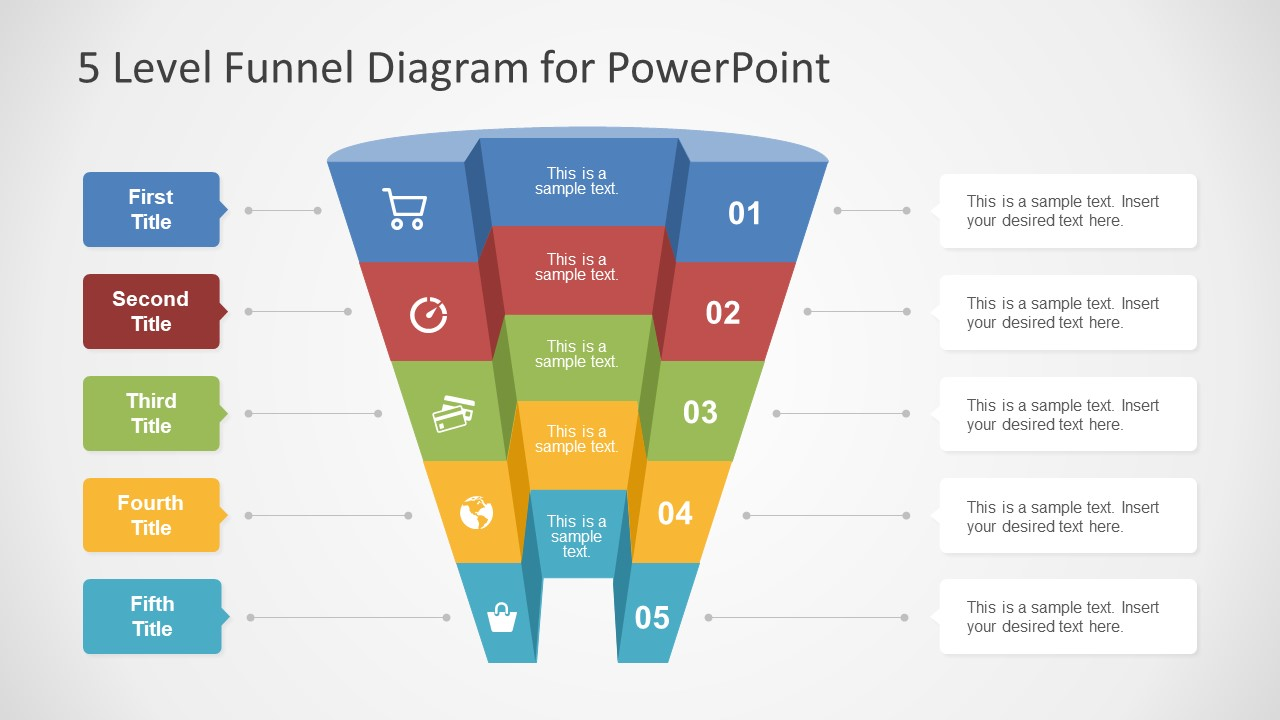 5 Level Funnel Diagram Concept For Powerpoint