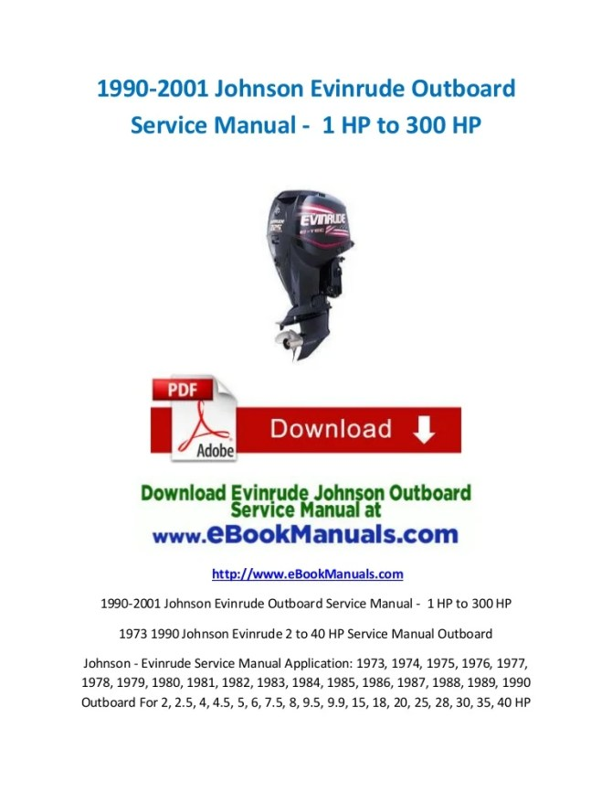 19902001 johnson evinrude outboard service manual  1 hp to