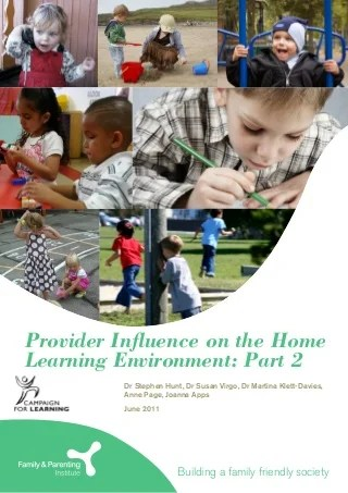 Provider influence on the home learning environment part 2