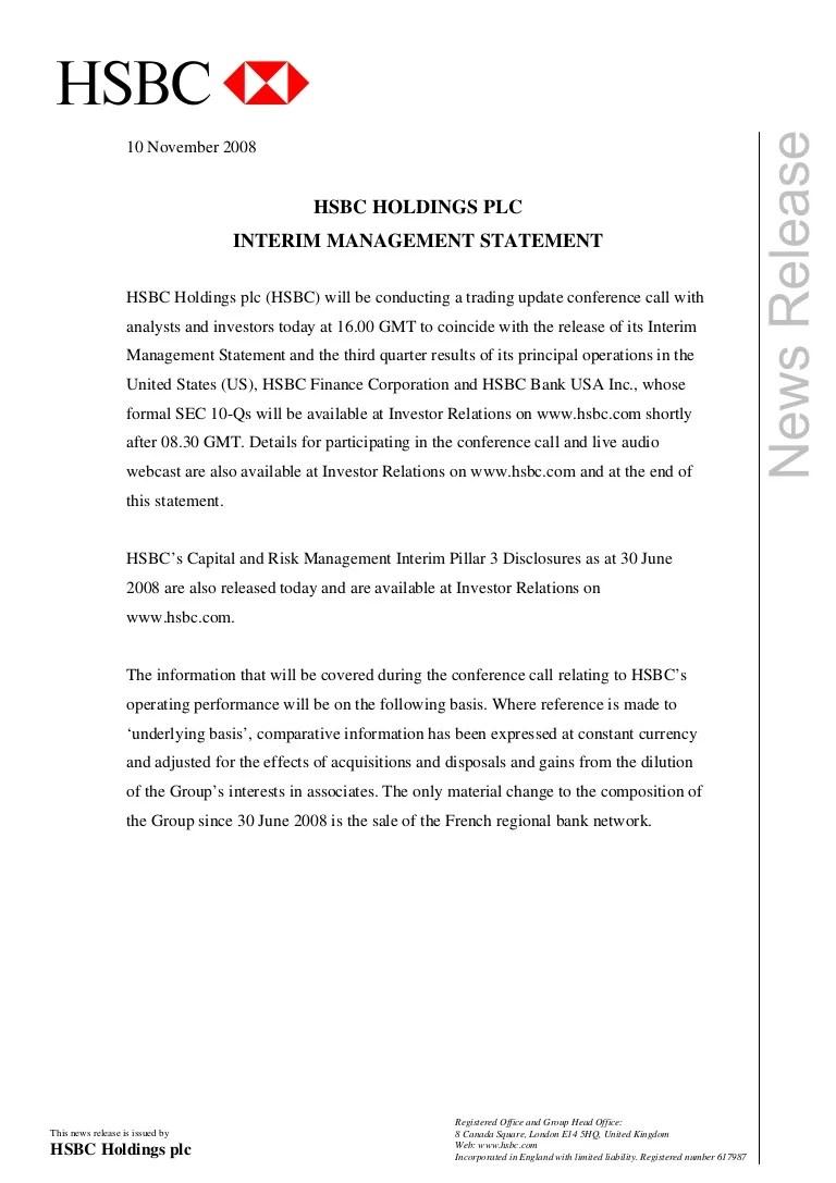 Hsbc Media Release Front Page Interim Management Statement Novembe