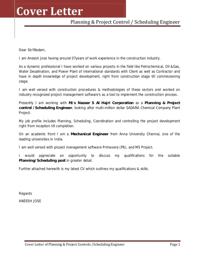 Project Engineer Cover Letter Sample Letters Polkadottrail Com