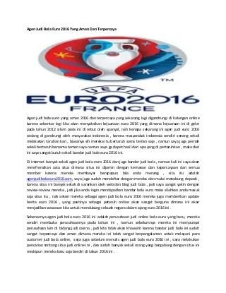 Agen judi bola euro 2016 yang aman dan terpercaya