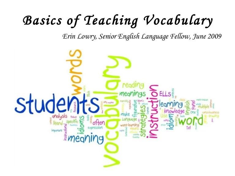 Basics Of Teaching Vocabulary