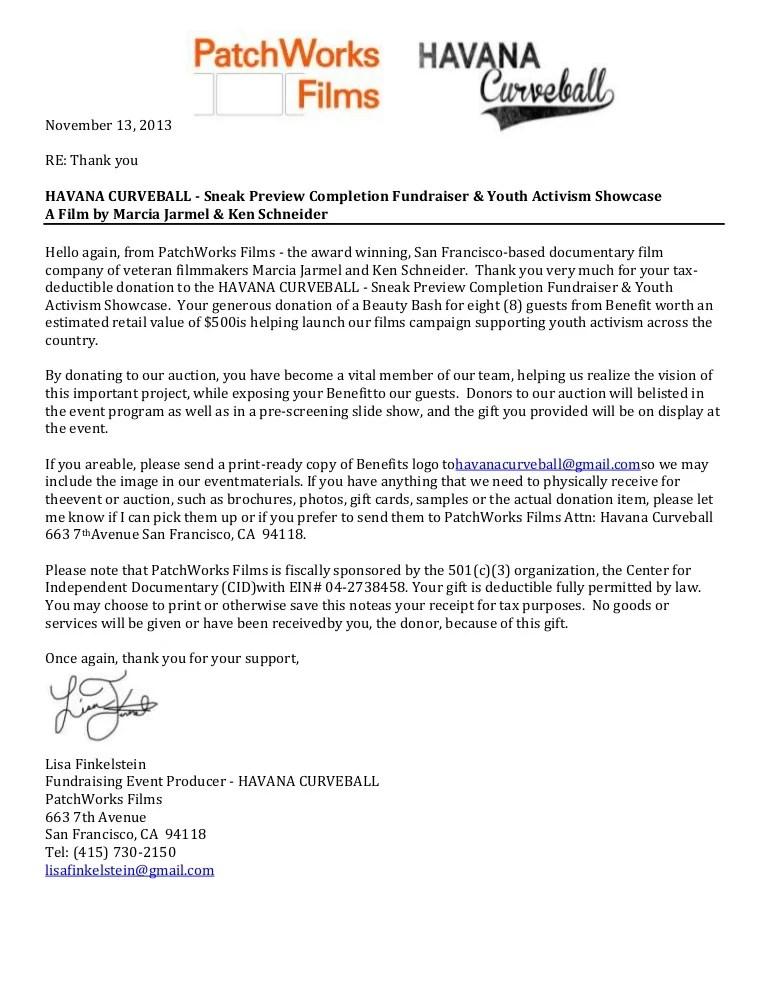 Benefit Silent Auction Contribution Thank You Letter
