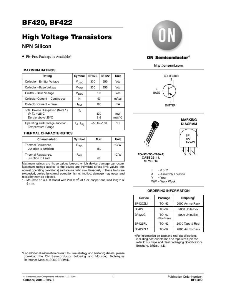 Image Result For Datasheet Transistor Bf422