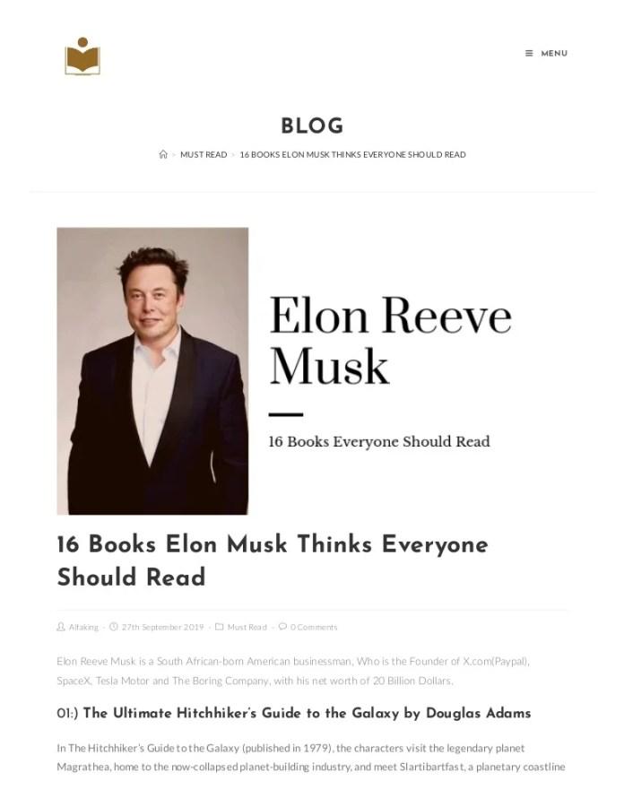 16 Books Elon Musk Thinks Everyone Should Read