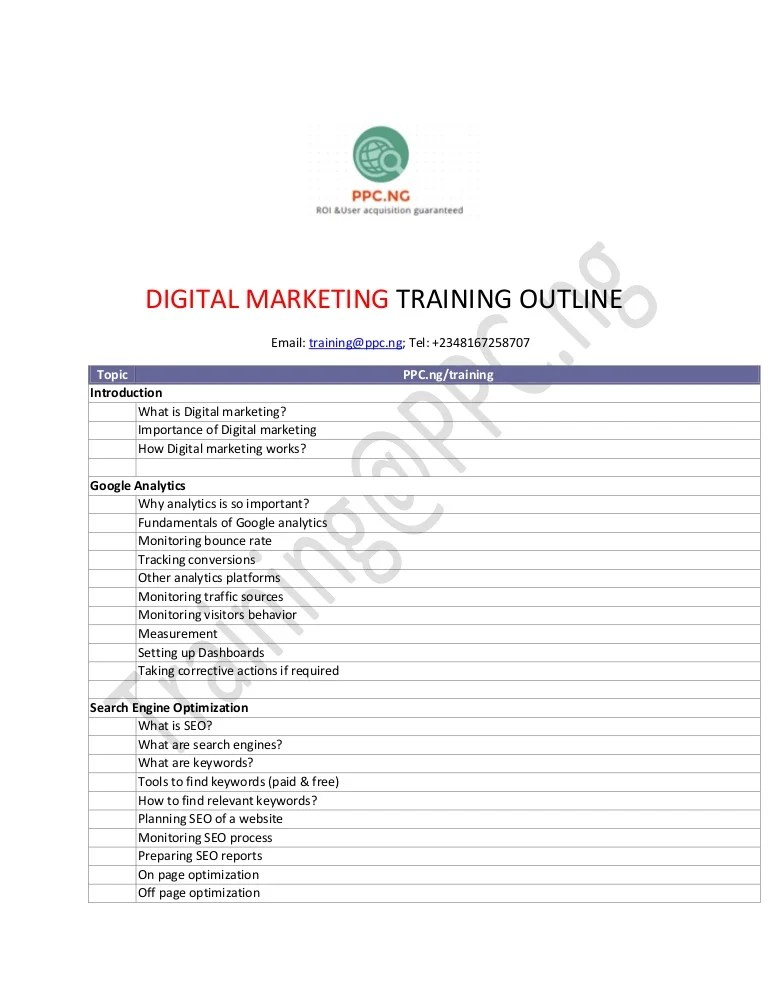 Are you a graduate with software testing or marketing or technical writing experience? PPC.ng DIGITAL MARKETING TRAINING OUTLINE