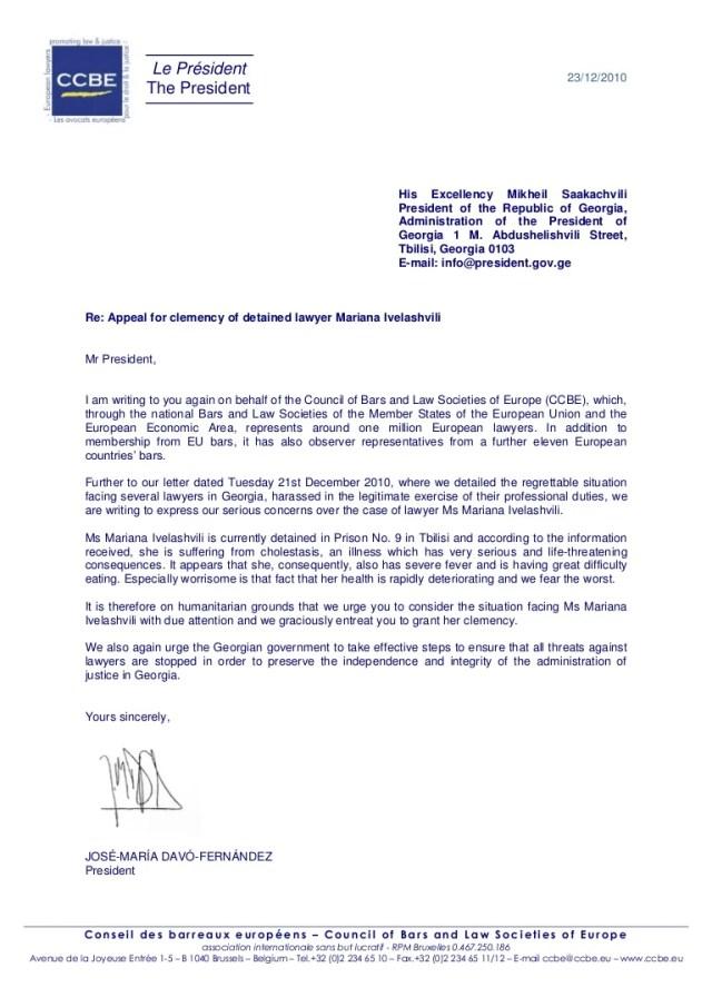 Ccbe letter for clemency of Mariana Ivelashvili 30 30 30