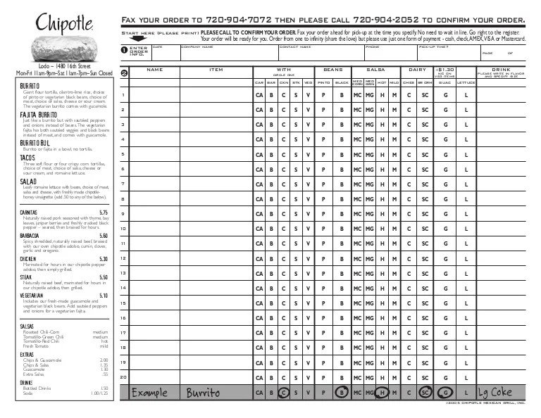 Rockville Chipotle Fax Order Form Pdf