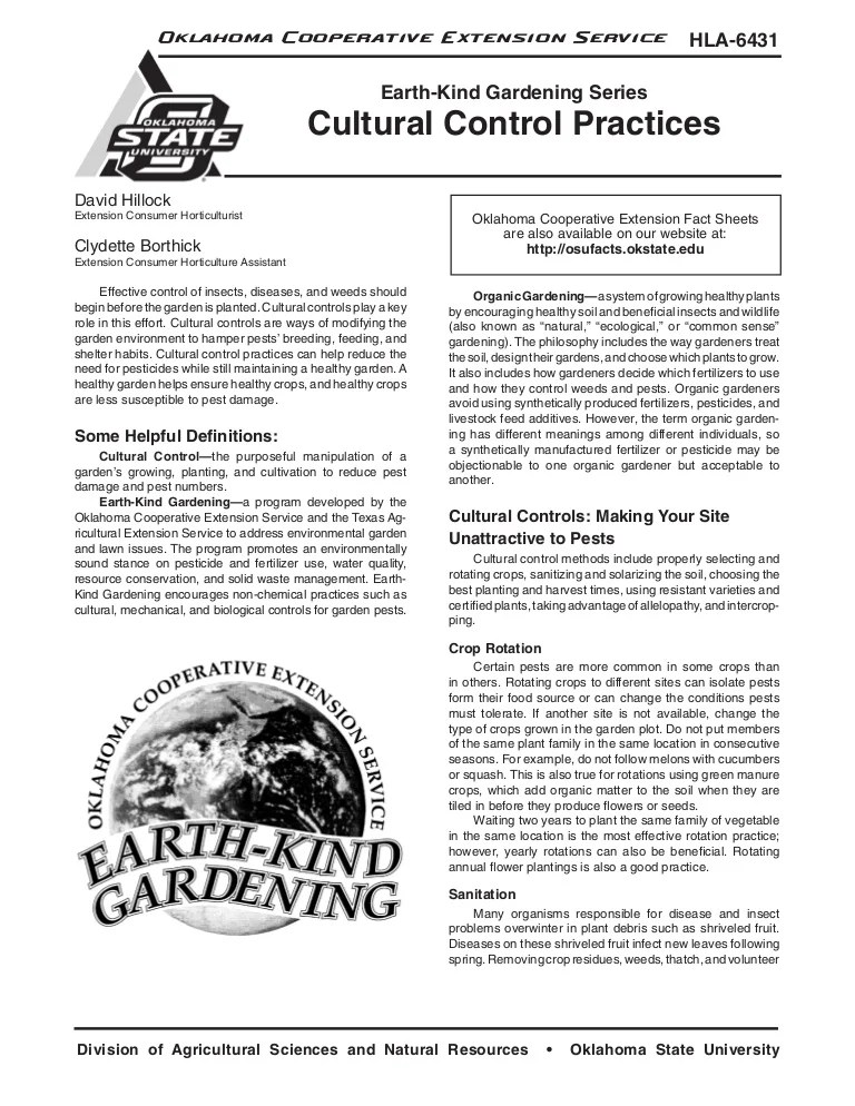 Cultural Control Practices Earth Kind Gardening Oklahoma Cooperati