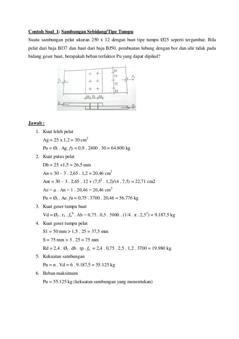 Peraturan mengenai struktur baja dengan mengunakan struktur baja lrfd dimana. Contoh Soal Sambungan Baut