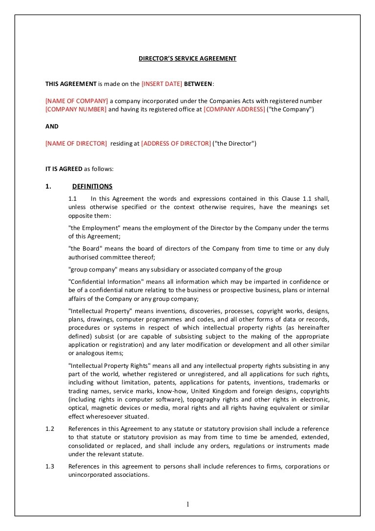 Directors Service Contract Tcw