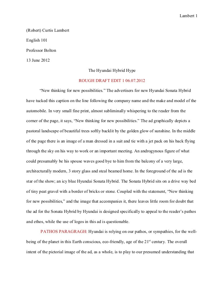 Essay 1 Ad Analysis Rough Draft The Hyundai Hubrid Hype