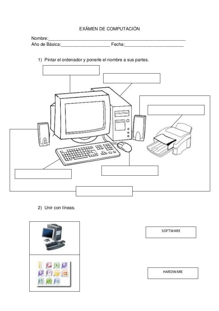 Partes De La Computadora Para Colorear En Ingles