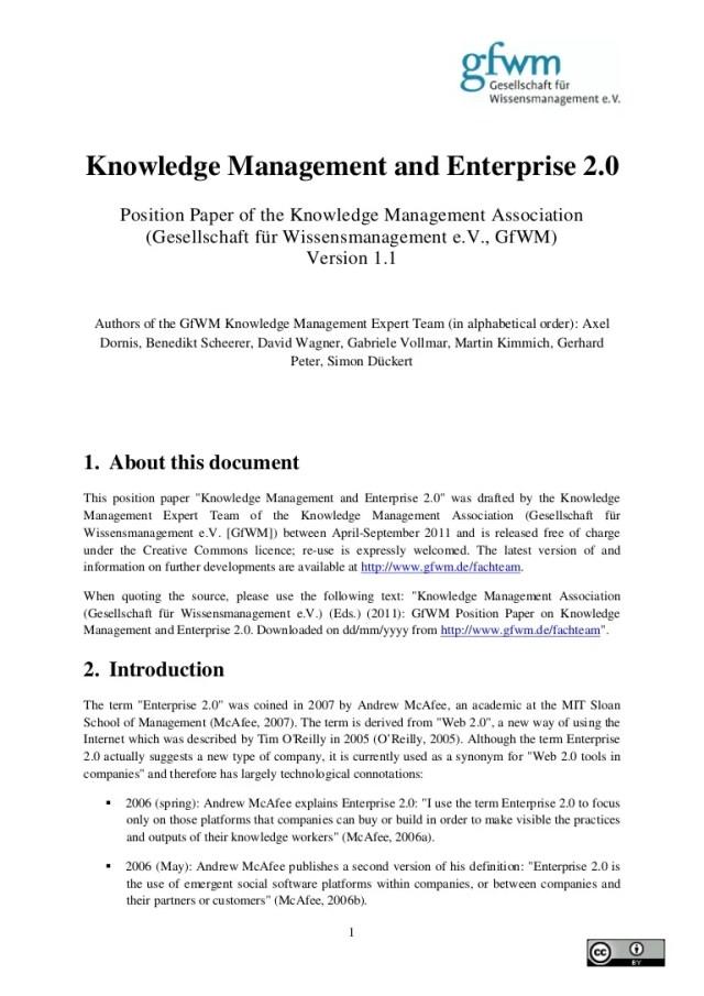 GfWM Position Paper Knowledge Management and Enterprise 24.24