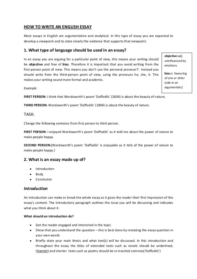 How to write an english essay booklet