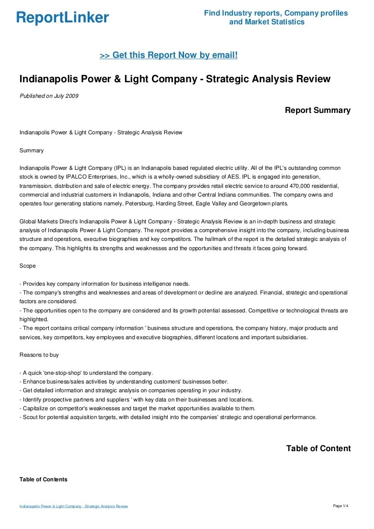 ... Credit To : Https://www.slideshare.net/ReportLinker/indianapolis Power  Light Company Strategic Analysis Review