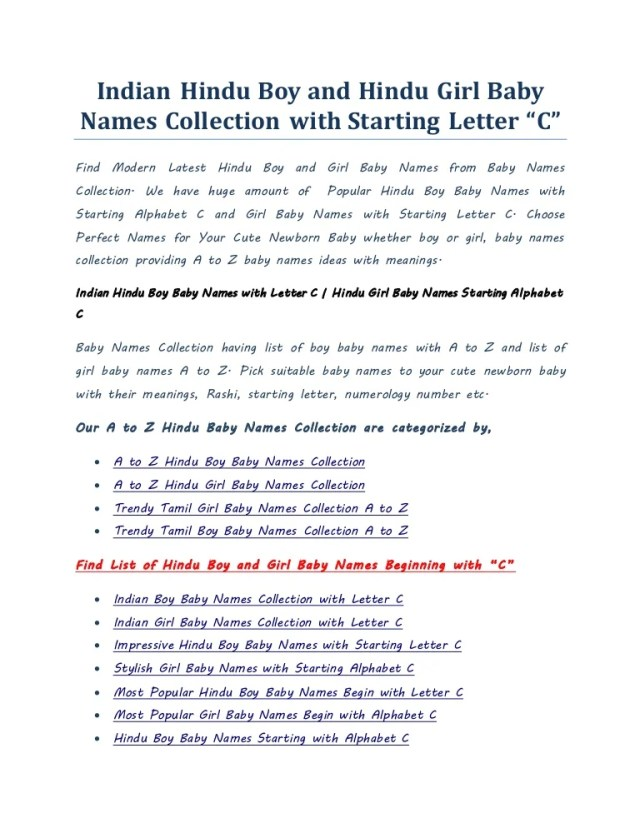 Indian Boy And Girl Baby Names Collection With Starting Letter C