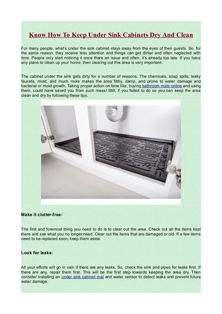 keep under sink cabinets dry and clean