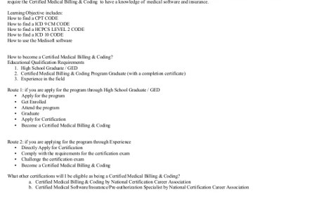 medical billing and coding certification requirements » Free ...