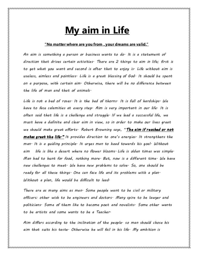my aim in life essay best life  sle essay on my aim in life