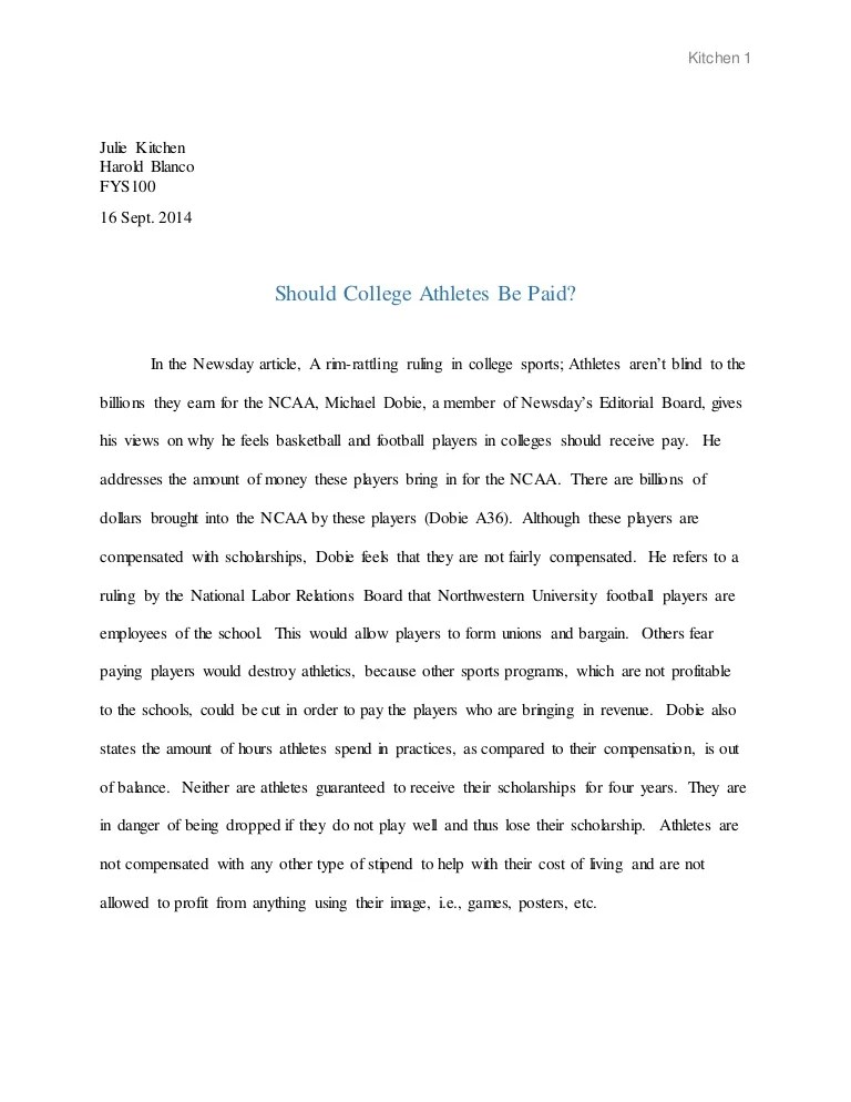 Paying college athletes argumentative essay
