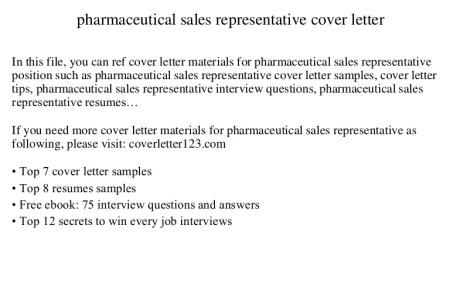 Free Resume 2018 » pharmaceutical rep cover letter | Free Resume