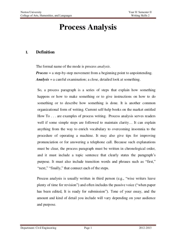 process analysis essay quiz Process analysis the purpose of process analysis is to explain how to do something or to show how something works the  rhetorical modes quiz anti essays 14 jun.