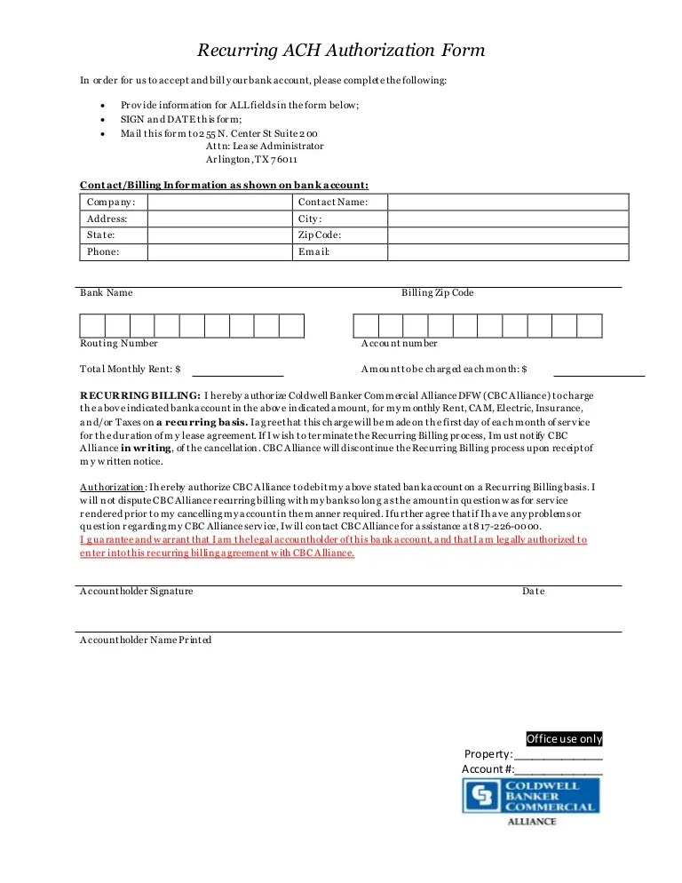 There are various types of payment authorization forms. Recurring Ach Authorization Form